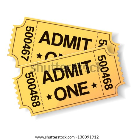 pair of yellow cinema tickets on white