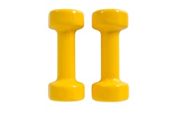 pair of yellow dumbbells Isolated on white background