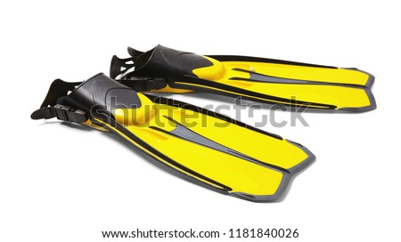 Pair of yellow flippers on white background