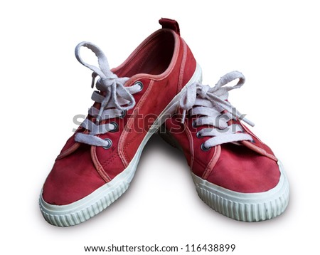 Pair vintage red shoes on white background