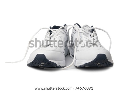 Pair white of trainers on isolated background