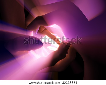 Pairs of 3d hands around a light source