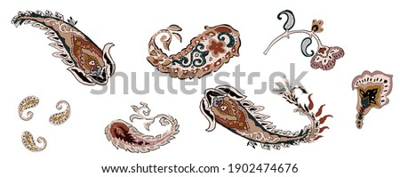 Paisley art set isolated elements vintage suitable for repeated texture, composed by paisley cashmere elements, ethnic flowers floral element, branch folkloric on white background.