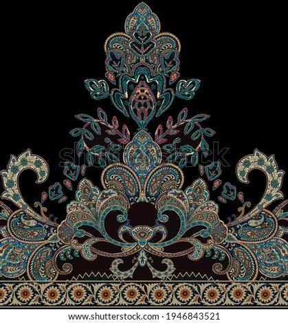 Paisley border embroidery design repeat seamless border