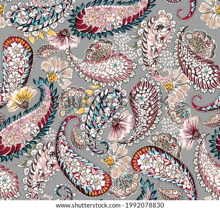 Paisley cashmere illustration vintage seamless pattern. Fabric texture print repeated print textile abstract. Floral ethnic elements antique colorful. Grey background.