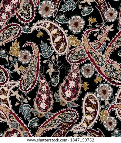 Paisley ethnic seamless pattern vintage wallpaper, with paisley cashmere folkloric elements, ethnic flowers on bordeaux color on black background.