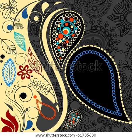 Paisley floral background. Vector file also available in my gallery