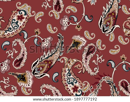 Paisley illustration vintage colorful seamless pattern fabric print texture, with ethnic flowers floral and cashmere elements on dark pink color background. ストックフォト ©