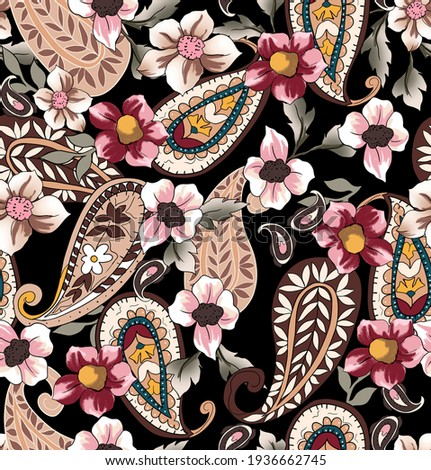 Paisley illustration with flowers seamless pattern vintage fabric texture print textile. Cashmere elements antique colorful, with floral elements wild ethnic, leaves on black background. ストックフォト ©