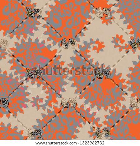 Paisley leopard pattern design , illustration , new fashion , trend pattern, leopard pattern