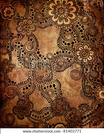Paisley ornament (grunge background)