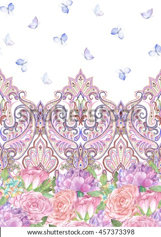 Paisley painted seamless pattern with butterflies, rose, peony, ornamental indian border, decorative striped motif. For wrapping, wallpaper, fabric, textile