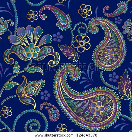 Paisley seamless pattern.Raster copy of vector file.