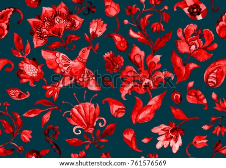 Paisley watercolor floral pattern tile flower, flores, tulip, pheasant, bird. Oriental traditional hand painted water color whimsical seamless print border for design. Abstract indian batik background