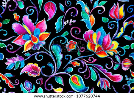 Paisley watercolor floral pattern tile:  flowers, flores, tulips, leaves. Oriental indian traditional hand painted water color whimsical seamless print, ceramic design. Abstract india black background