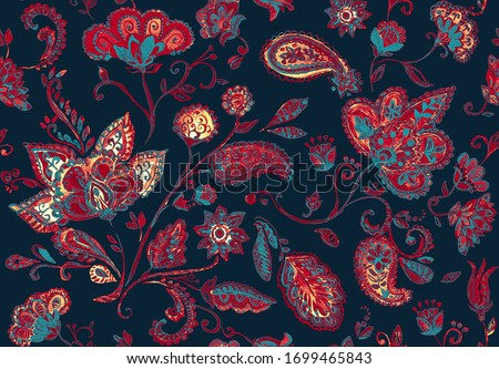Paisley watercolor floral pattern tile: flowers, flores, tulips, leaves. Oriental indian traditional hand painted water color whimsical seamless print, ceramic design. Abstract india batik background Photo stock ©