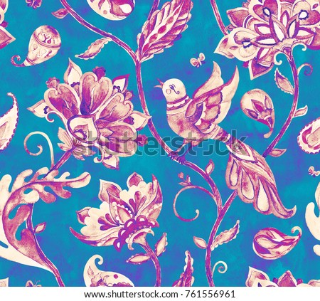 Paisley watercolor floral pattern tile with birds, flowers, flores, tulips, leaves. Oriental vintage hand painted water color whimsical seamless border for design. Abstract indian batik background