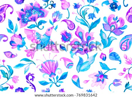 Paisley watercolor floral pattern tile with flowers, flores, tulips, bird, dove. Oriental traditional hand painted water color whimsical seamless print ceramic design. Abstract indian batik background