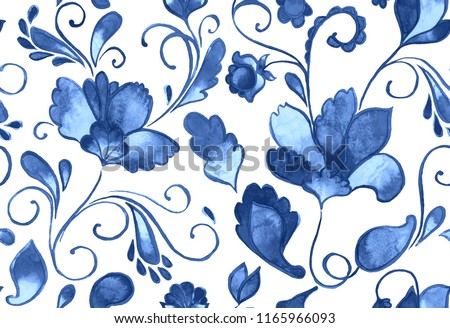 Paisley watercolor floral pattern tile with flowers, flores, tulips, leaves. Oriental traditional hand painted water color whimsical seamless print isolated on white. Abstract indian batik background
