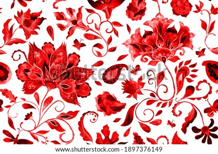 Paisley watercolor floral pattern tile with flowers, flores, tulips, leaves. Oriental traditional hand painted water color whimsical seamless print isolated on white. Abstract indian batik background Photo stock ©