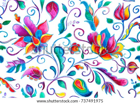 Shutterstock Paisley watercolor floral pattern tile with flowers, flores, tulips, leaves. Oriental traditional hand painted water color whimsical seamless print border for design. Abstract indian batik background.