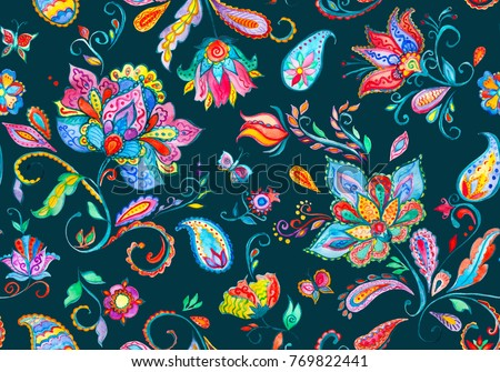 Paisley watercolor floral pattern tile with flowers, flores, tulips, leaves. Oriental traditional hand painted water color whimsical seamless print for ceramic design. Abstract indian batik background