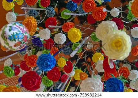 Pajaki (spider) - traditional polish chandeliers (18th century). Originally made with rye straw and paper, hanging down from the ceiling  Crêpe paper, polish holiday, polish tradition, Poland Zdjęcia stock ©