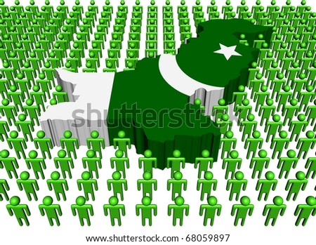 Pakistan map flag surrounded by many abstract people illustration