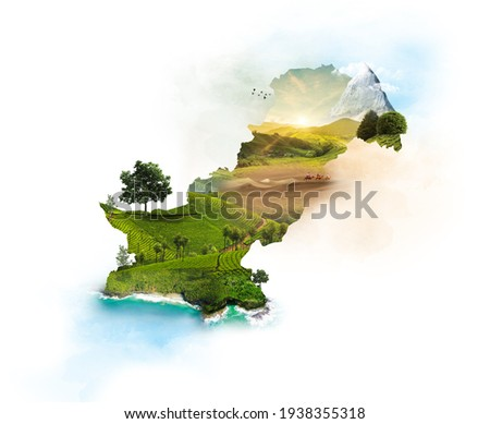 Pakistan Map. Pakistan Monuments. Environment. 3d illustration with isolated background