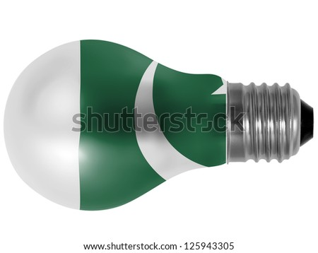 Pakistan. Pakistani flag painted on lightbulb