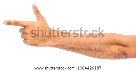 Pakistani Indian boy man male hand pointing left to right with thumbs up. Isolated on white background