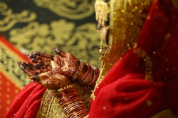 Pakistani Indian bridal showing wedding Mehndi design and jewelry  Karachi, Pakistan, 01 August 2020