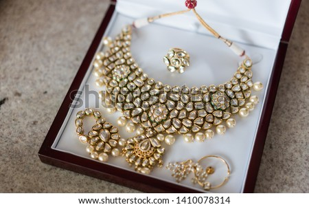 Pakistani Indian bridal wedding golden with gem Polki kundan set #1410078314