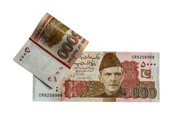 Pakistani 5000 Note, isolated on white background It is the local currency of the Pakistan.