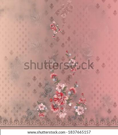 pakistani suit texture and flowers merging and buti pattern Zdjęcia stock ©