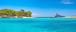 Pakleni Otoci arcipelago beach and superyacht panoramic view, Hvar island, Dalmatia region of Croatia