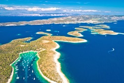 Pakleni otoci yachting destination arcipelago aerial view of Palmizana, Hvar island, Dalmatia region of Croatia