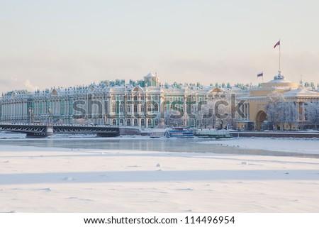 Palace bridge. Neva River. Saint-Petersburg. Russia