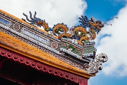 Palace detail within the UNESCO World Heritage site of Imperial Palace and Citadel in Hue, Vietnam
