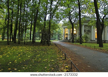 Palace in an early autumn park at evening in Saint Petersburg, Russia.