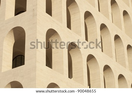 Palace of civilization and work in Rome (E.U.R. zone) - squared coliseum