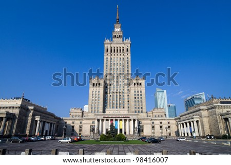 Palace of Culture and Science (Polish: Palac Kultury i Nauki), famous landmark in Warsaw, Poland