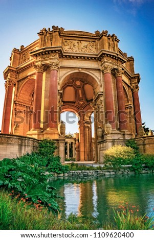 Palace of Fine Arts Museum at Sunset in San Francisco, California, USA