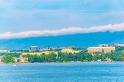 Palace of Nations behind Geneva lake in Switzerland