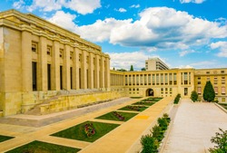 Palace of Nations building - seat of the United nations - in Geneva, Switzerland
