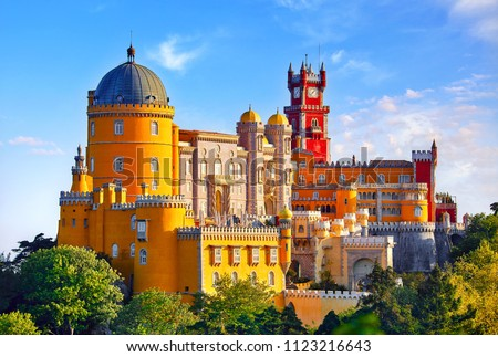 Palace of Pena in Sintra. Lisbon, Portugal. Famous landmark. Summer morning landscape with blue sky. - Shutterstock ID 1123216643