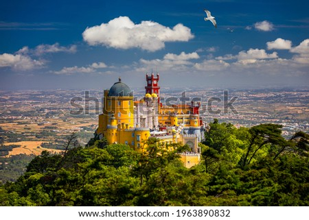 Palace of Pena in Sintra. Lisbon, Portugal. Travel Europe, holidays in Portugal. Panoramic View Of Pena Palace, Sintra, Portugal. Pena National Palace, Sintra, Portugal.  Foto stock ©