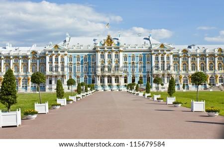 Palace of queen Ekaterina Second Great in Tsarskoye selo (king's village), surroundings of St. Petersburg.