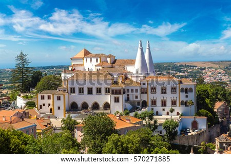 Shutterstock Palace of Sintra (Palacio Nacional de Sintra) in Sintra in a beautiful summer day, Portugal