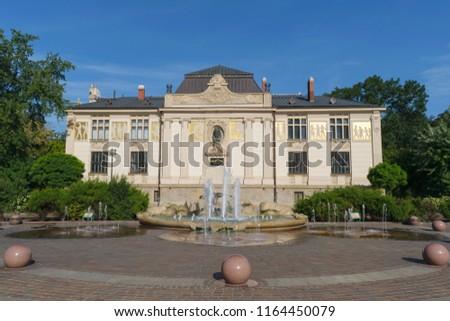 Palace of the Arts (Główny Pałac Sztuki) at Szczepański square, Krakow, Poland Zdjęcia stock ©